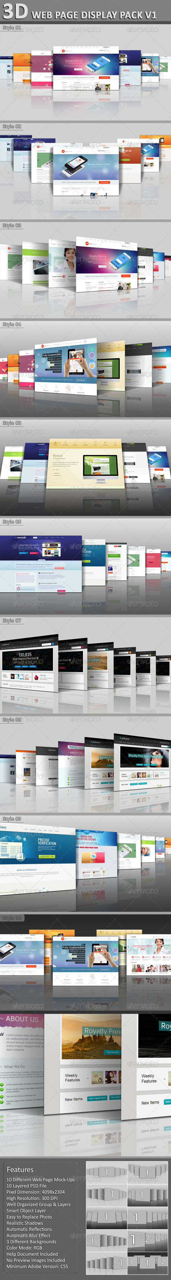 3D Web Page Display Pack V1 - Website Displays