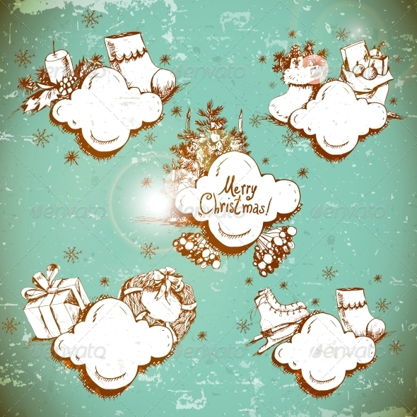 GraphicRiver Doodle New Year and Christmas Frame 6210987