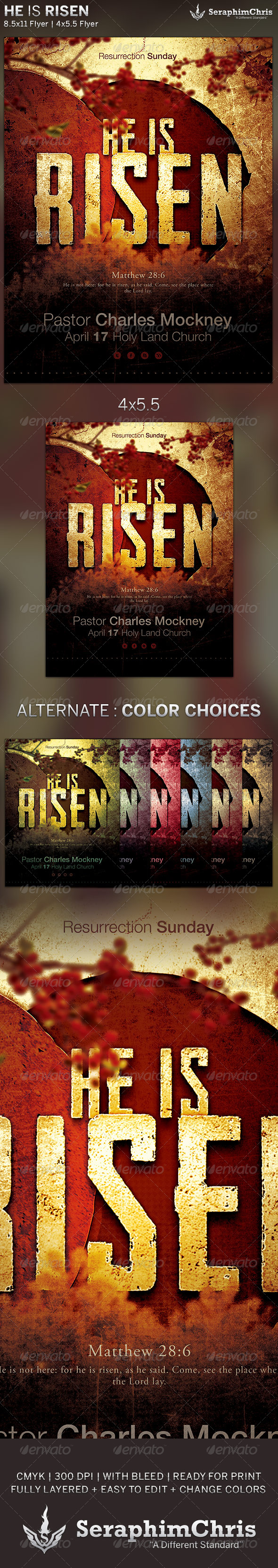 GraphicRiver He is Risen Church Flyer Template 6211142