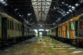 Cargo trains in old train depot - PhotoDune Item for Sale