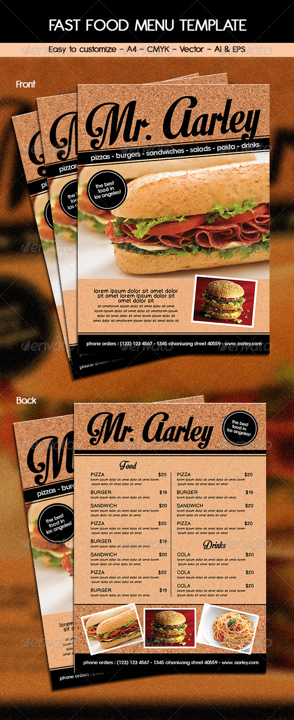 GraphicRiver Fast Food Menu Template 6211863