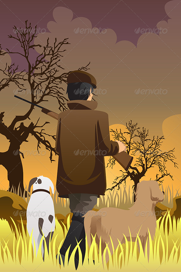 GraphicRiver Hunter with Two Dogs 6213332