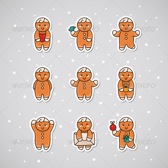 GraphicRiver Sticker with Gingerbread 6213379