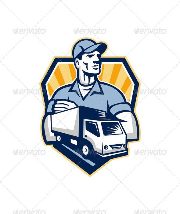 GraphicRiver Removal Man Delivery Truck Crest Retro 6213887