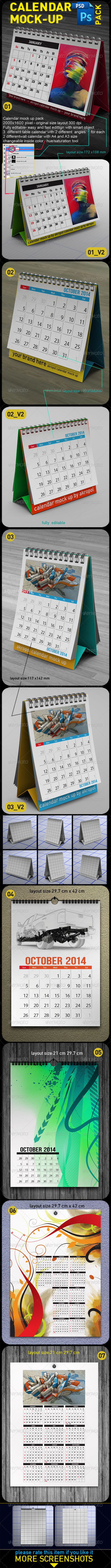 GraphicRiver Calendar Mock Up Pack 6211278