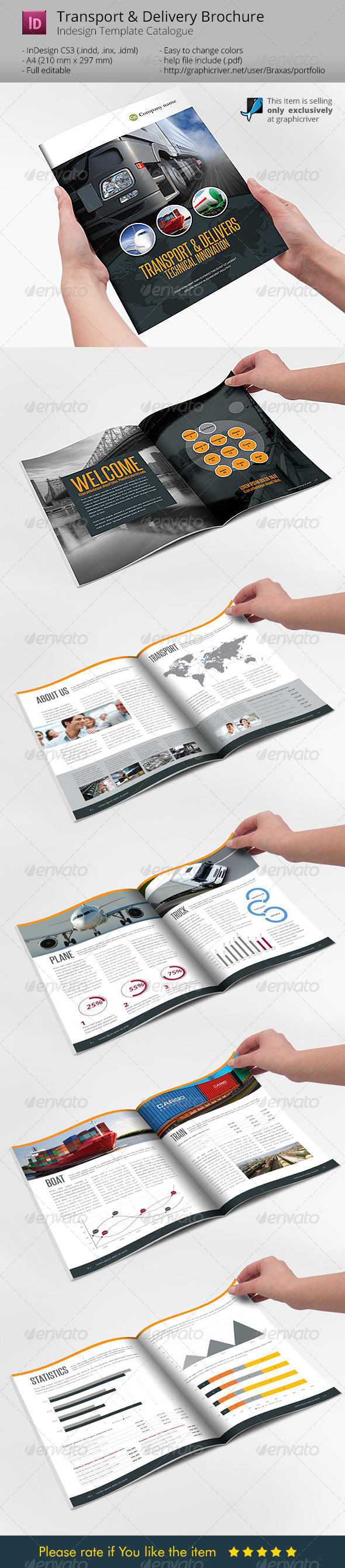 GraphicRiver Transport & Delivery Indesign Template Brochure 6214122