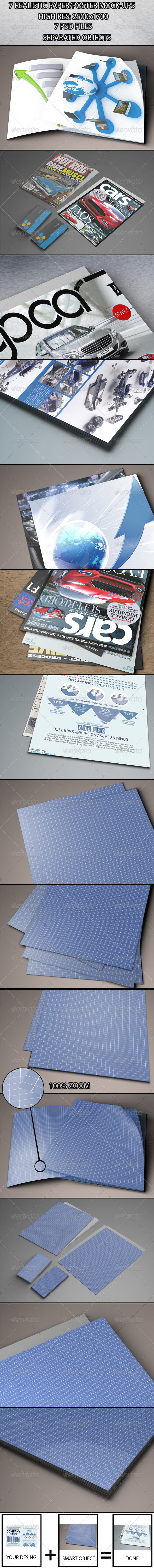 GraphicRiver 7 Realistic Paper Poster Mock-ups 6167862