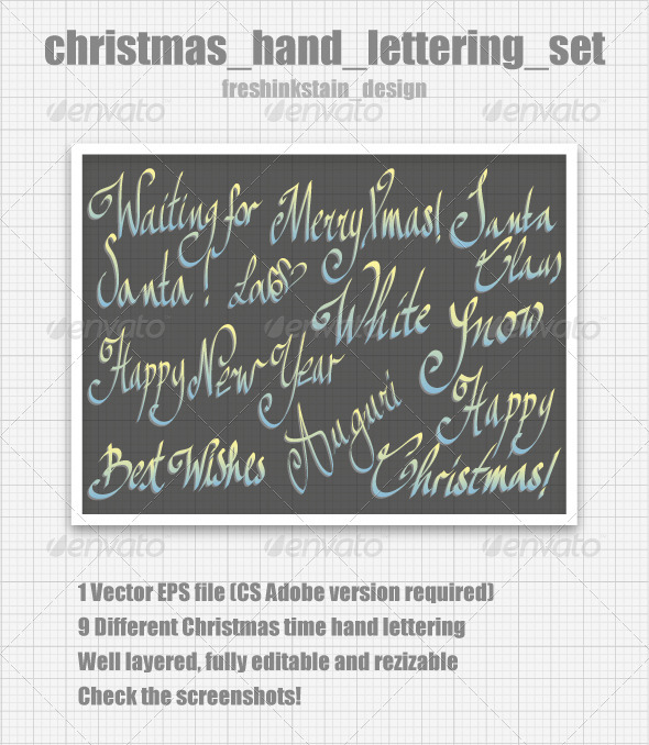 Christmas Hand Lettering Set - Christmas Seasons/Holidays