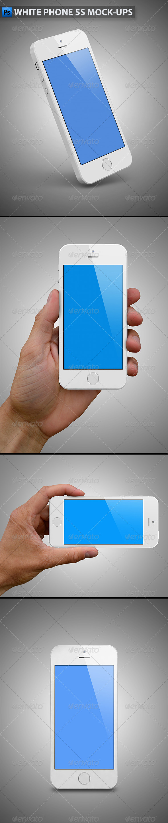 GraphicRiver White Phone 5s Mock-Ups 6215131