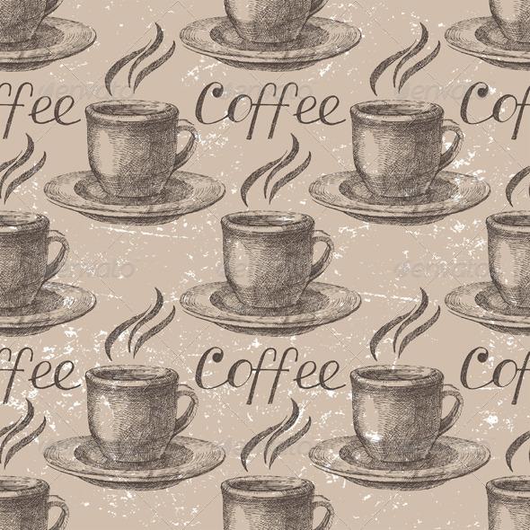 GraphicRiver Hand Drawn Coffee Seamless 6216842
