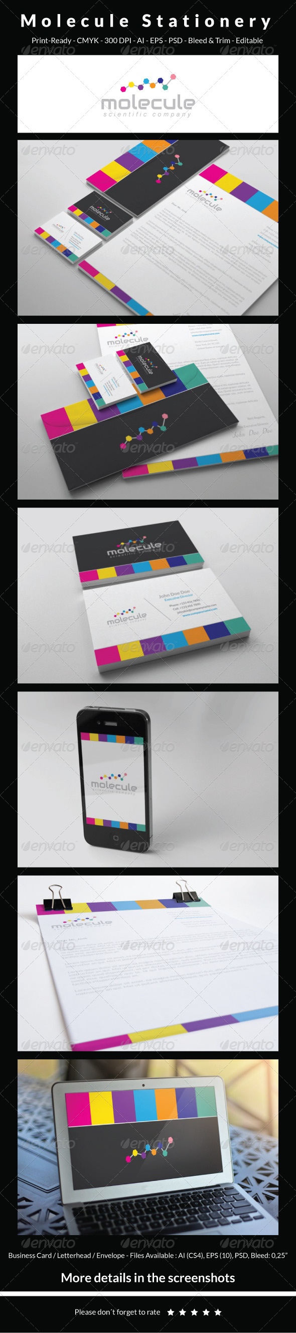 GraphicRiver Molecule Stationery 6200317