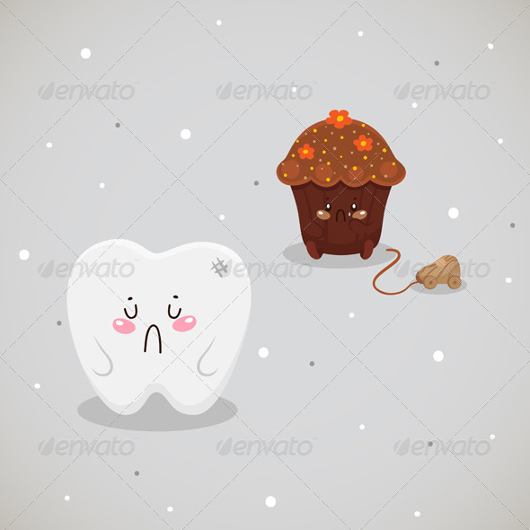 GraphicRiver Cupcake and Tooth 6218634