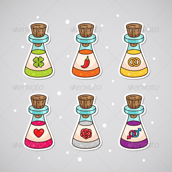 GraphicRiver Sticker with Love Potions 6218868