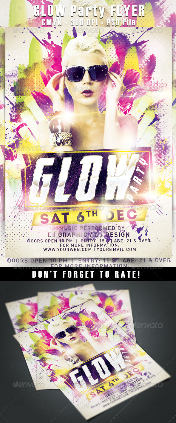 Glow Party Flyer - Events Flyers