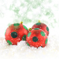 Red Christmas balls on snowing background - PhotoDune Item for Sale