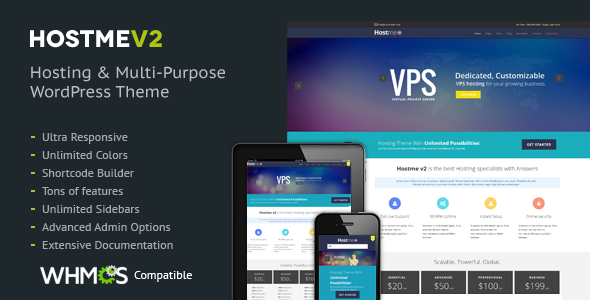 Hostme v2 Responsive WordPress Theme - Hosting Technology