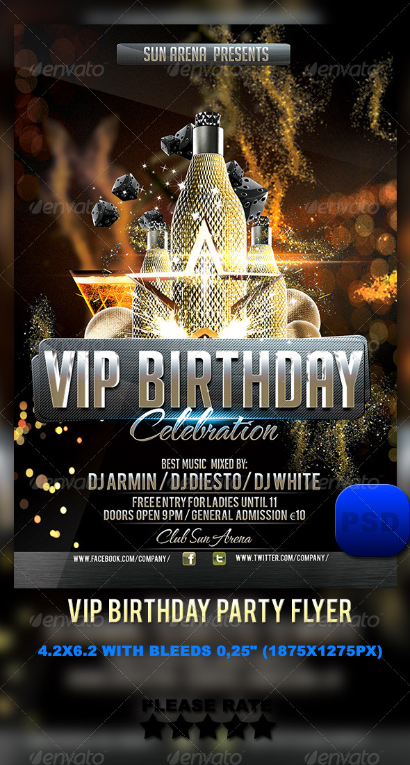 GraphicRiver VIP Birthday Party Flyer 6222520