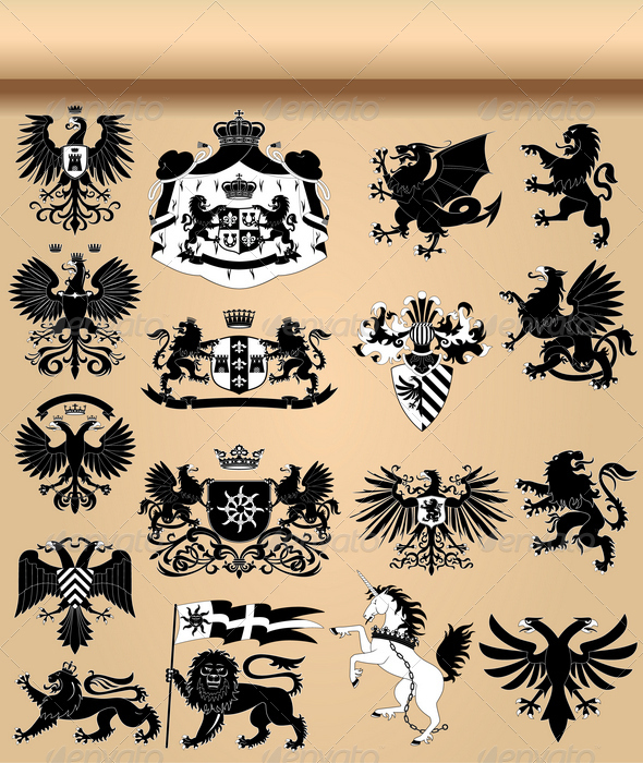 GraphicRiver Coat of arms and heraldic animals set 644142