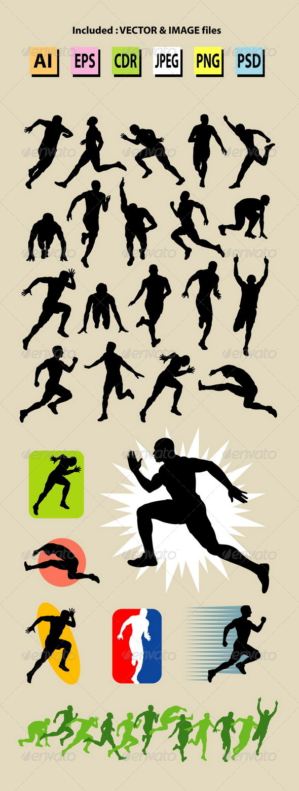 GraphicRiver Male Running Sport Silhouettes 6222802