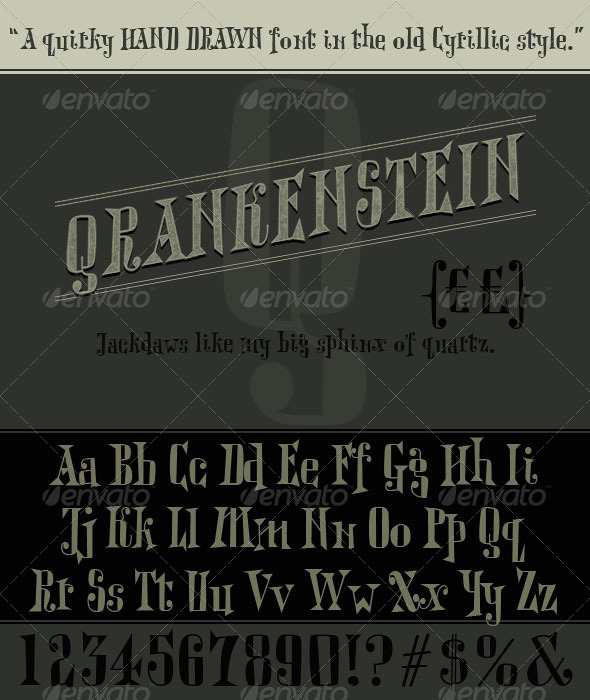 Qrankenstein. Hand Drawn Cyrillic Serif Font - Decorative Fonts