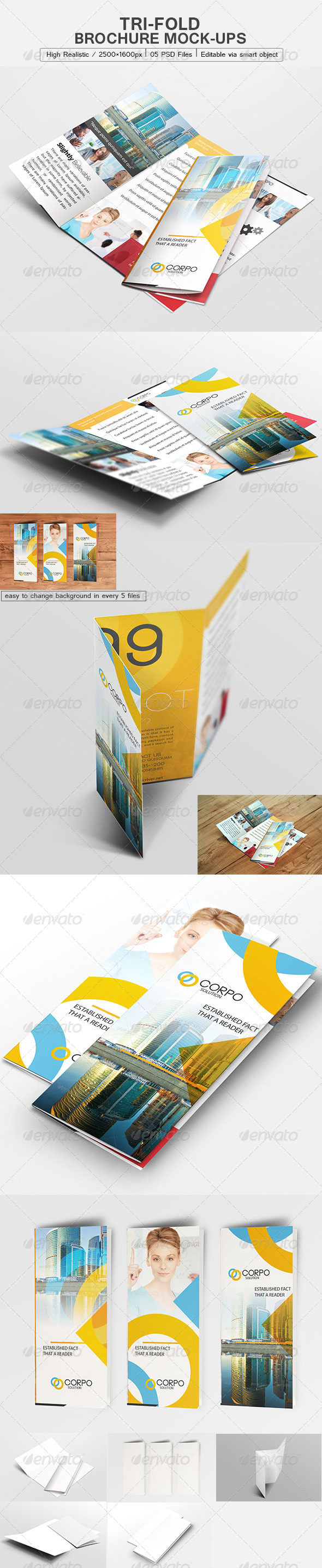 GraphicRiver Tri-Fold Brochure Mock-Up 6223721