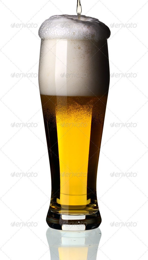 Glass of beer, isolated. - Stock Photo - Images