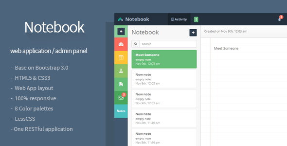 ThemeForest Notebook Web App and Admin Template 6228450