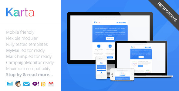karta minimalist responsive email template by saputrad themeforest. Black Bedroom Furniture Sets. Home Design Ideas