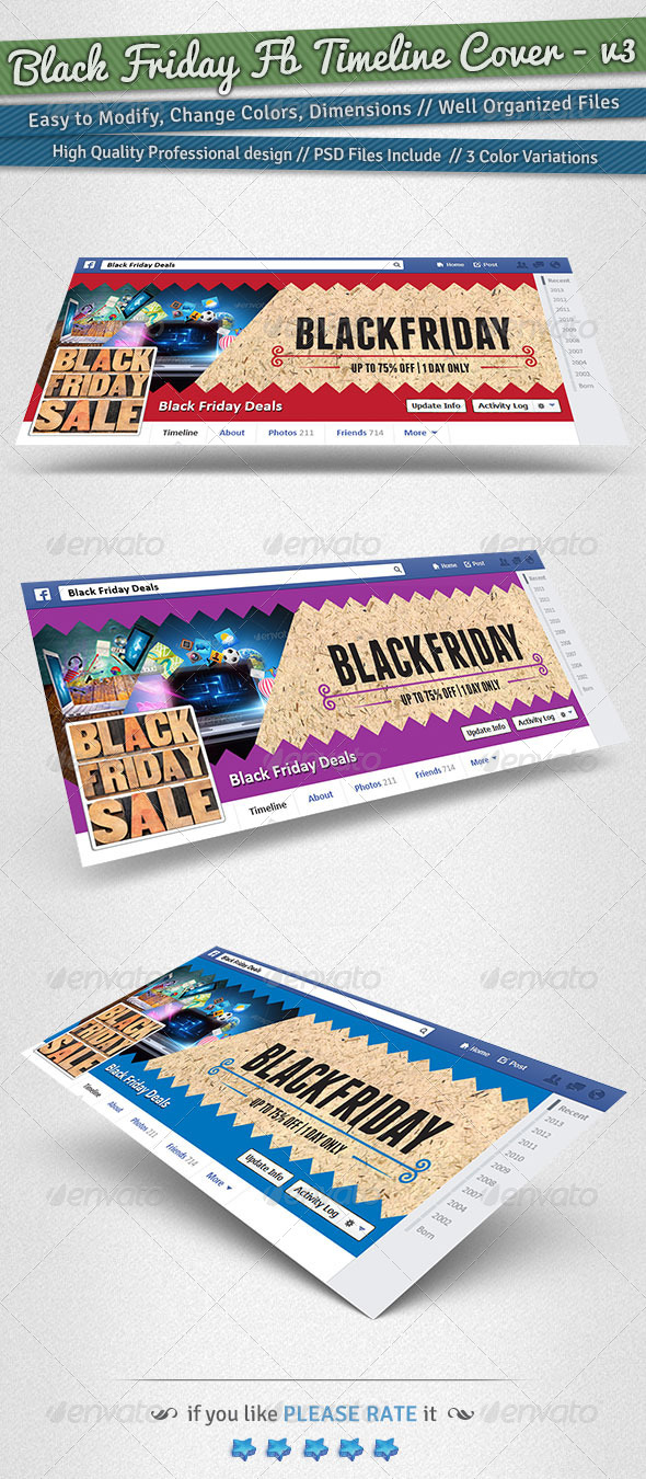 GraphicRiver Black Friday Facebook Timeline Cover Volume 3 6231610