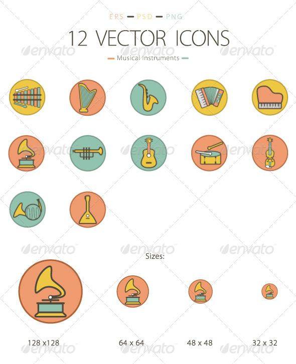 GraphicRiver Set of 12 Musical Instruments Icons 6232414