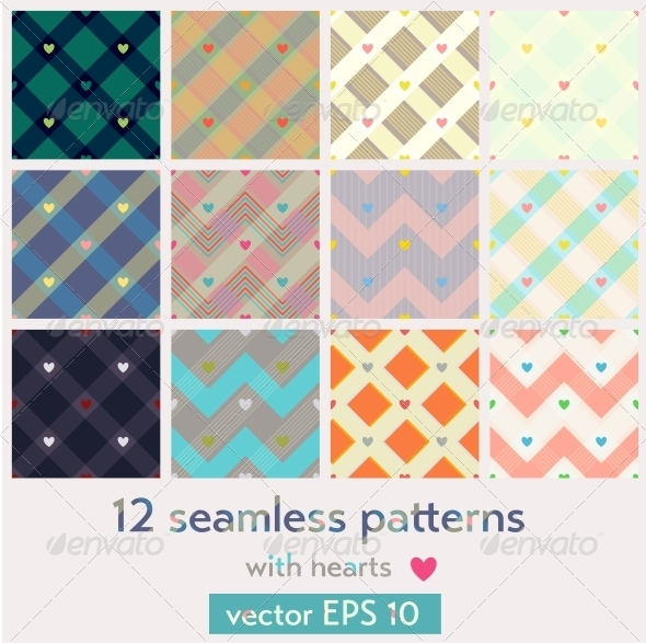 GraphicRiver Set of 12 Seamless Patterns with Hearts 6232504
