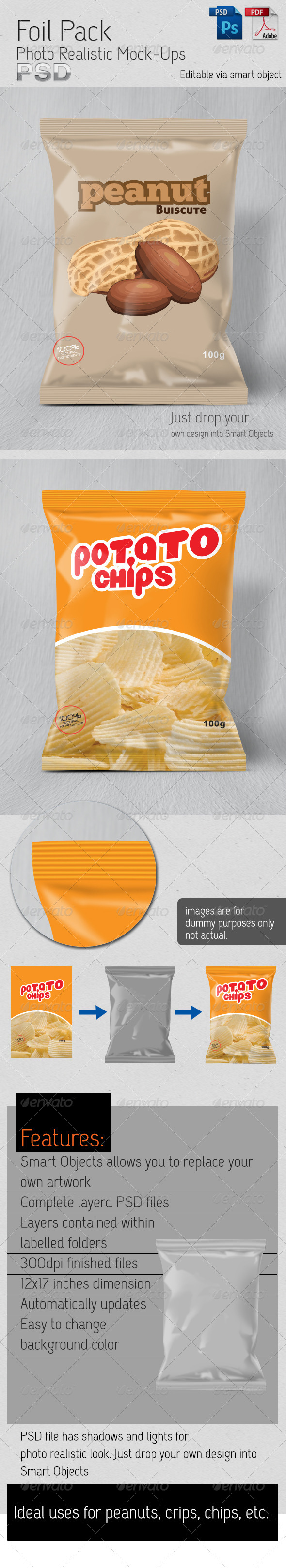 GraphicRiver Foil Pack Photo Realistic Mock-Up 6177351