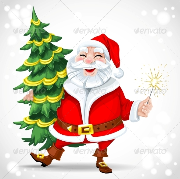GraphicRiver Santa Claus holding Christmas Tree 6234933