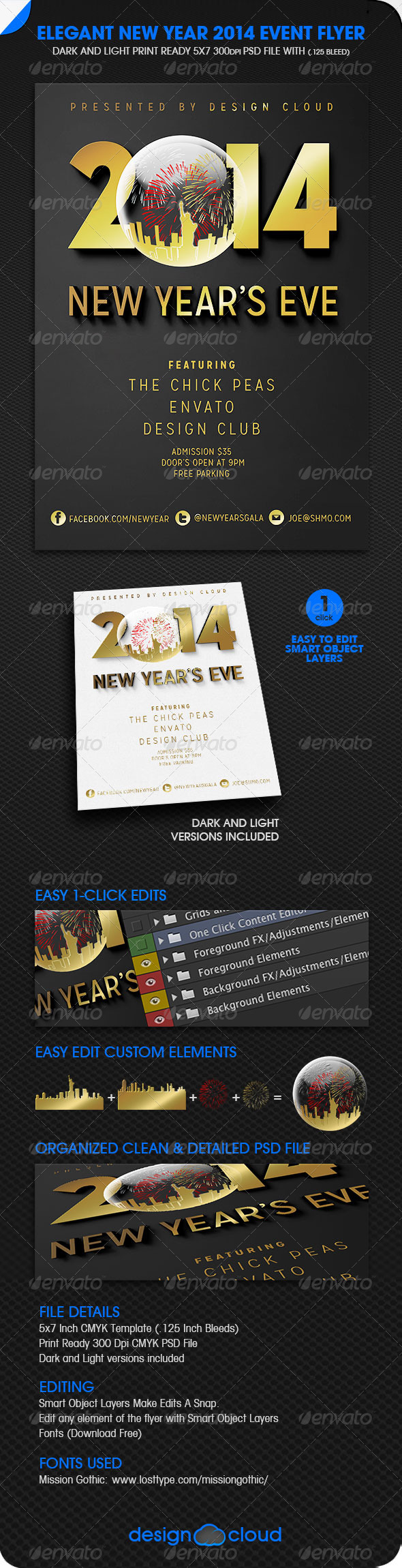 GraphicRiver Elegant New Years Eve Light and Dark Event Flyers 6198085