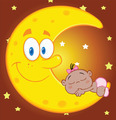 Cute African American Baby Girl Sleeps On The Smiling Moon  - PhotoDune Item for Sale