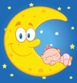 Cute Baby Girl Sleeps On The Smiling Moon Over Blue Sky With Stars - PhotoDune Item for Sale