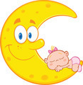 Cute Baby Girl Sleeps On The Smiling Moon Characters - PhotoDune Item for Sale
