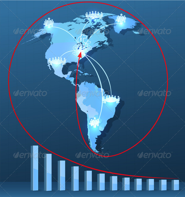 GraphicRiver World Map with Social Network Connections 6236745