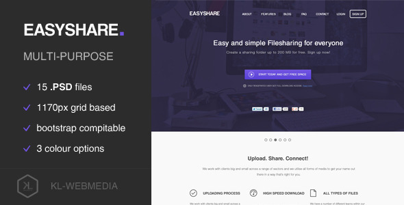 ThemeForest Easyshare Filesharing PSD Template 6236979