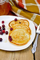 Flapjacks with cranberry in a plate on a board - PhotoDune Item for Sale
