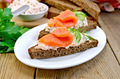 Sandwich with salmon and cream in a dish with cucumber - PhotoDune Item for Sale