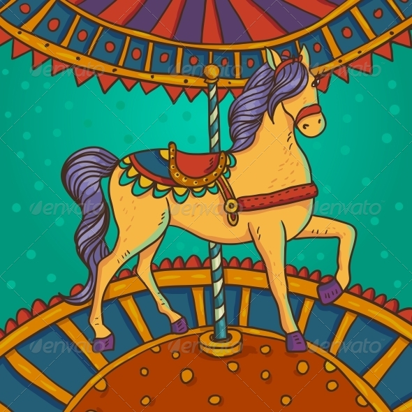 GraphicRiver Horse with Flowers and Ornaments 6239908