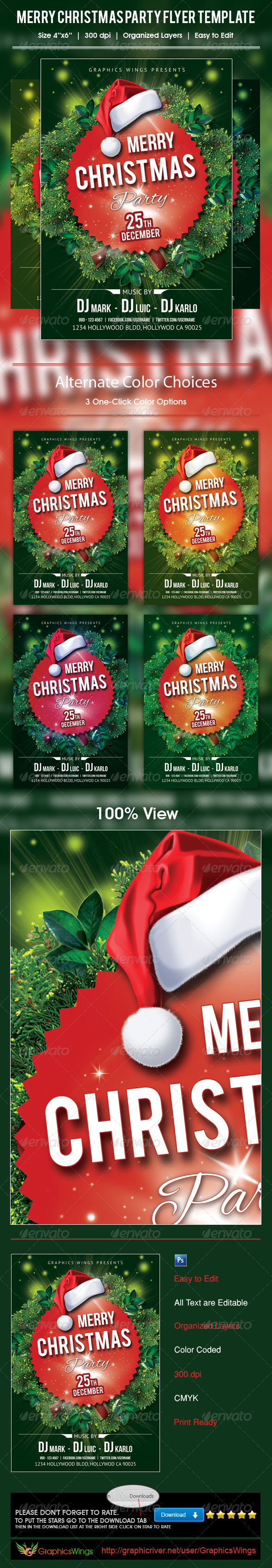 GraphicRiver Merry Christmas Party Flyer Template 6240147
