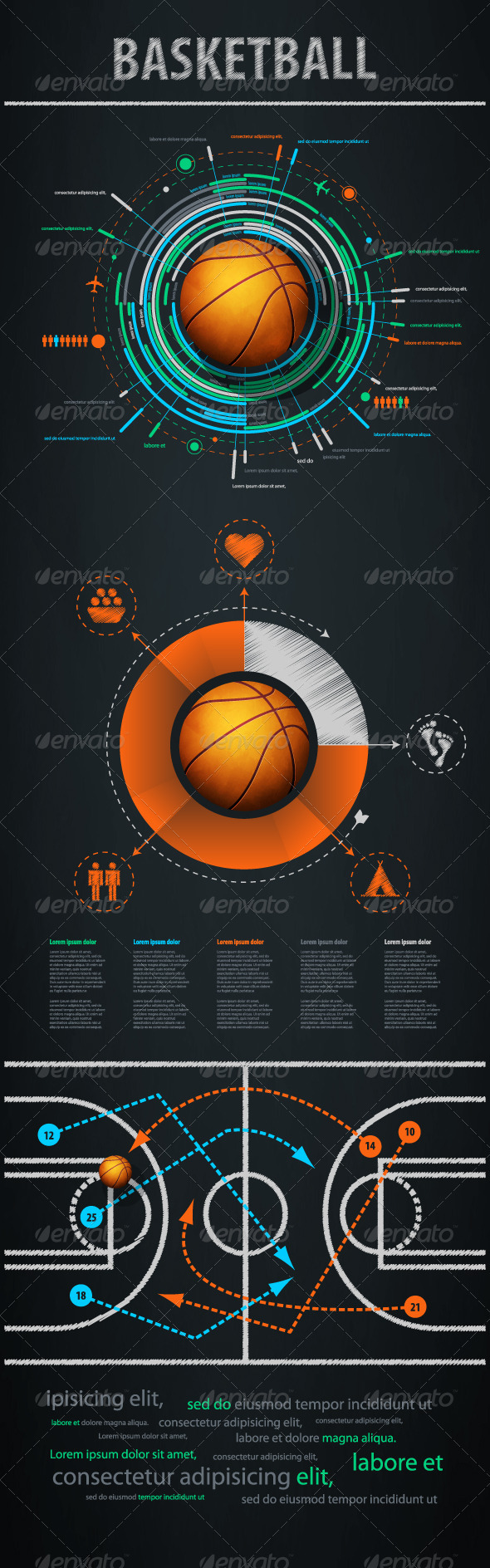 GraphicRiver Infographics element with sports basketball Ball 652155