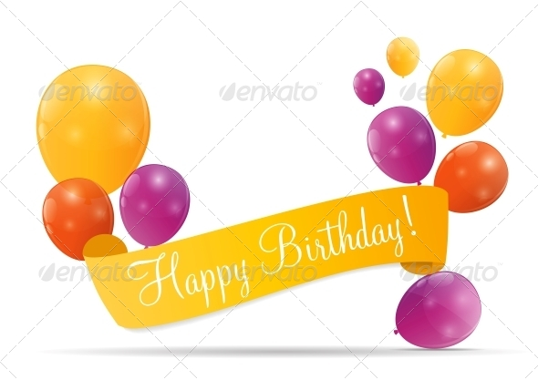 GraphicRiver Color Glossy Balloons Birthday Card 6241227