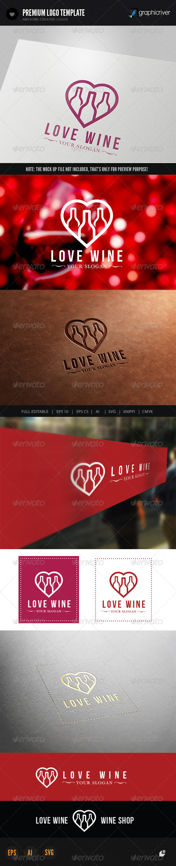 GraphicRiver Love Wine Logo 6243266