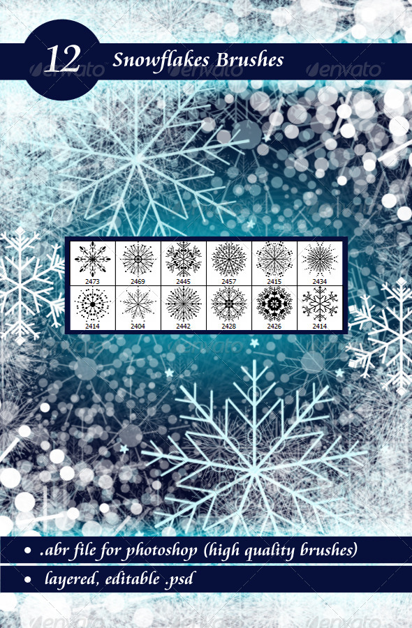 GraphicRiver Snowflakes Brushes 6241737