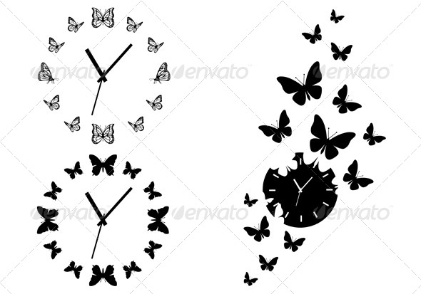 GraphicRiver Time Flies Butterfly Clocks Vector Set 6244450