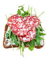 sandwich from salami, grain bread and arugula - PhotoDune Item for Sale