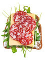sandwich from bread, salami, cheese, fresh rucola - PhotoDune Item for Sale